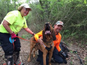 Trailing canine Woodrow finds Mark